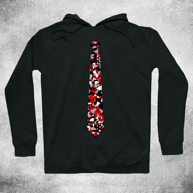 Cool red and black pattern tie Hoodie