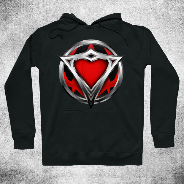 Superhero steel heart logo Hoodie
