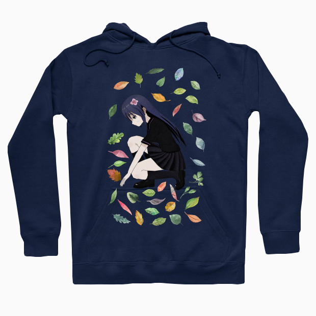 Girl playing with leaves Hoodie