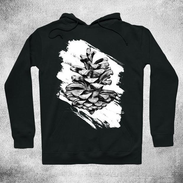 Black ink pine cone Hoodie