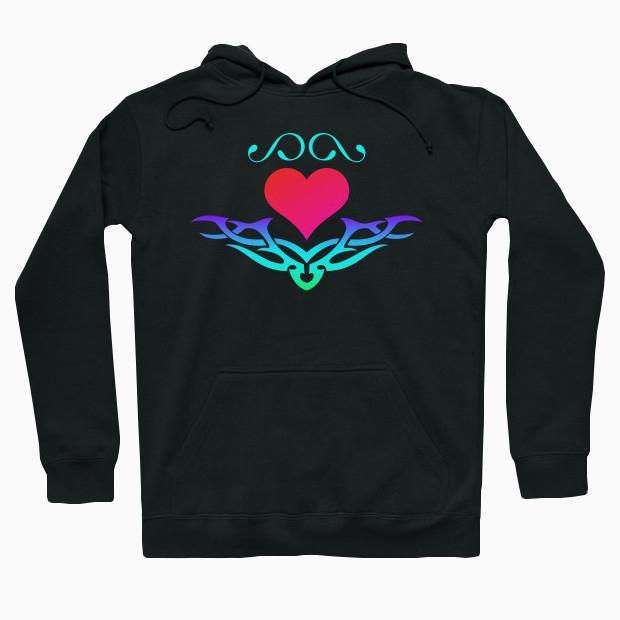 RGB tribal heart Hoodie