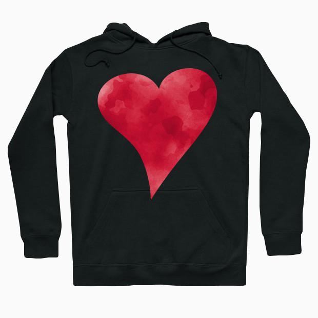 Red watercolor heart Hoodie