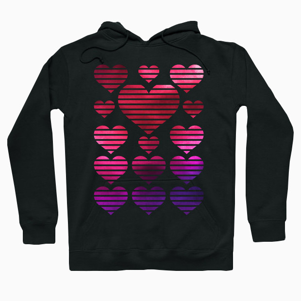 Watercolor painted hearts pattern Hoodie