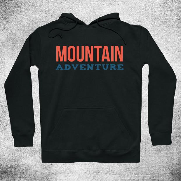 Orange mountain adventure text Hoodie