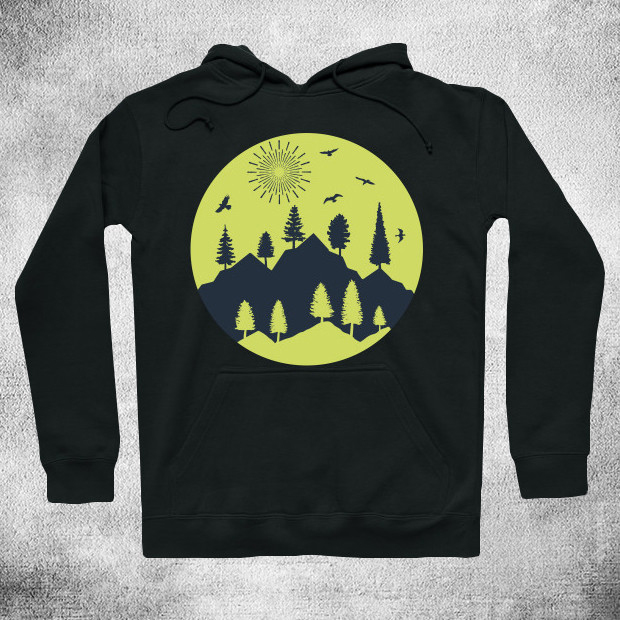 Sunny day in the mountains Hoodie