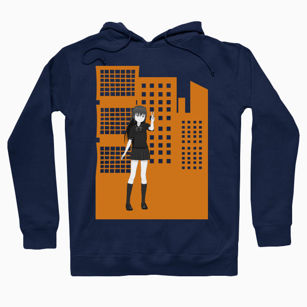 Anime girl in the city Hoodie