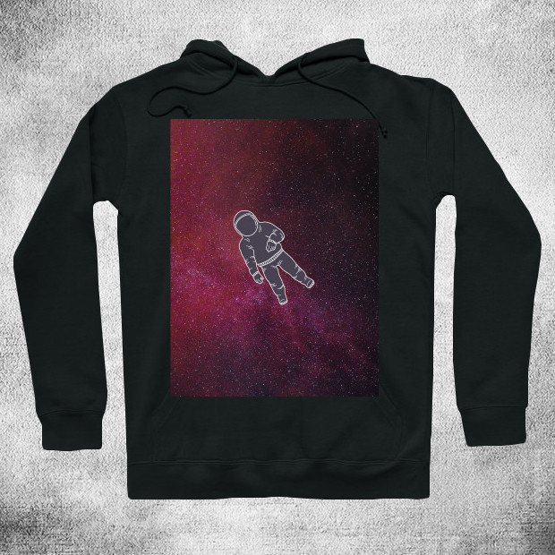 Astronaut lost in red galaxy Hoodie