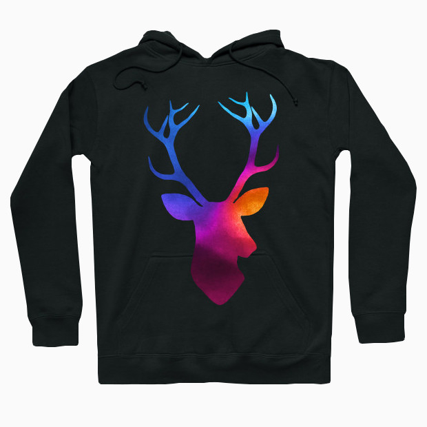 Deer head watercolor Hoodie