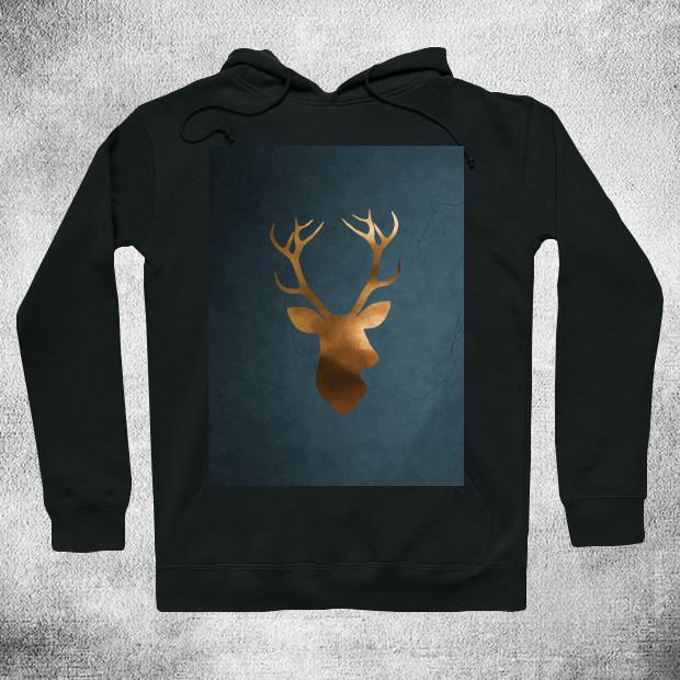 Gold deer watercolor painting Hoodie