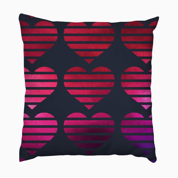 Mixed media hearts Pillow