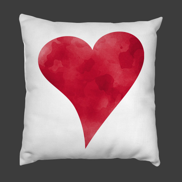 Red watercolor heart Pillow