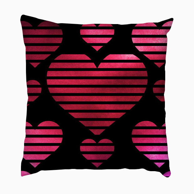 Watercolor painted hearts pattern Pillow