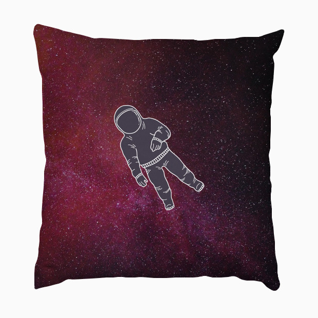 Astronaut lost in red galaxy Pillow