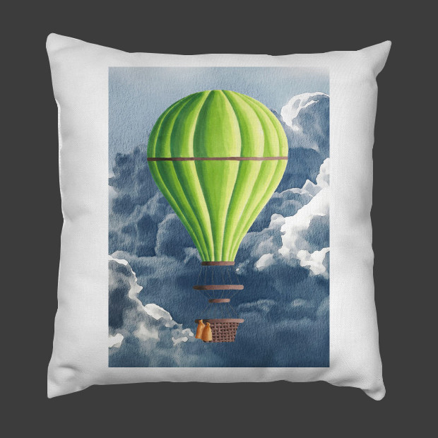 Fantasy balloon in clouds Pillow