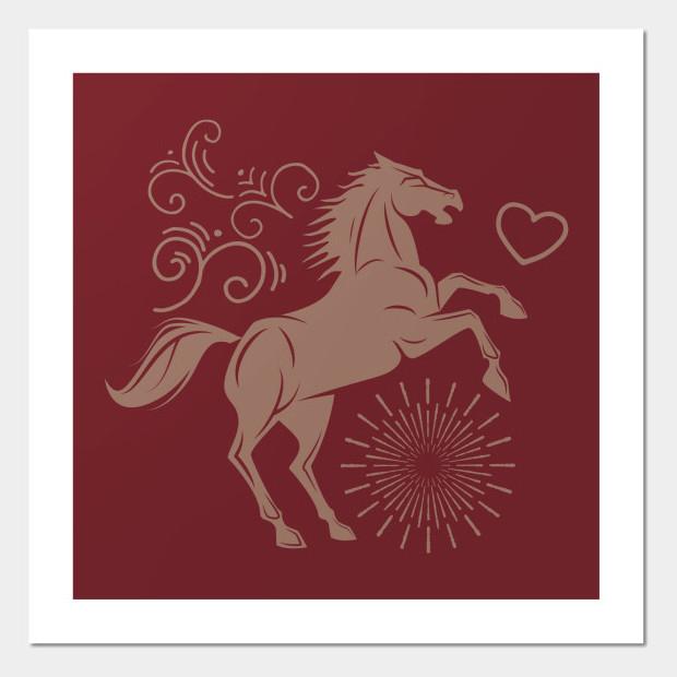 Artsy horse illustration Poster