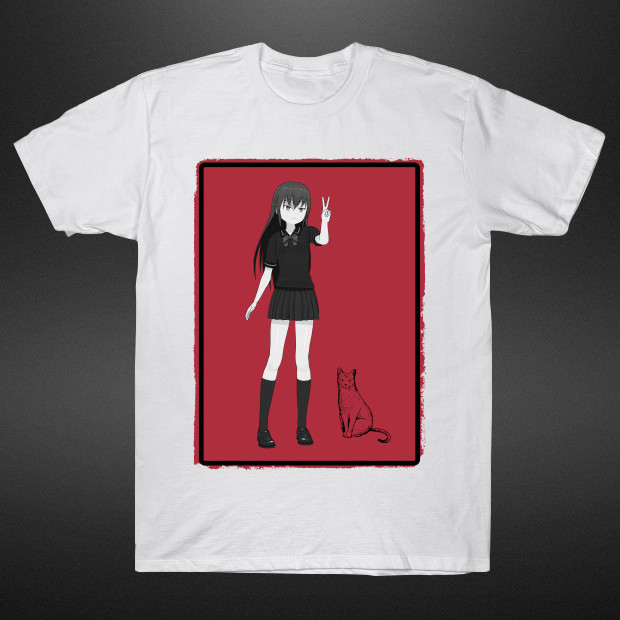 Anime girl with cat T-Shirt