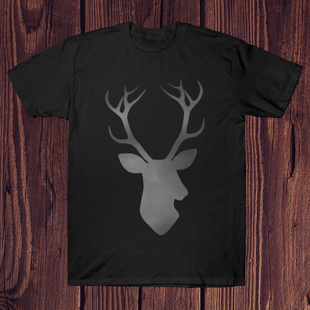 Black deer silhouette T-Shirt