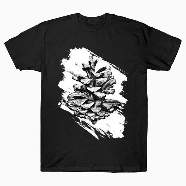 Black ink pine cone T-Shirt