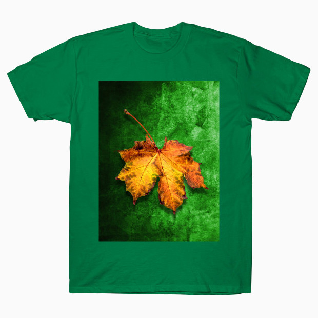 Yellow leaf green background T-Shirt