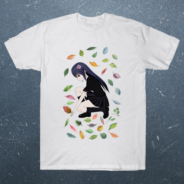 Girl playing with leaves T-Shirt
