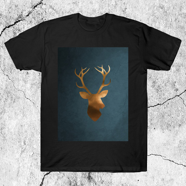 Gold deer watercolor painting T-Shirt