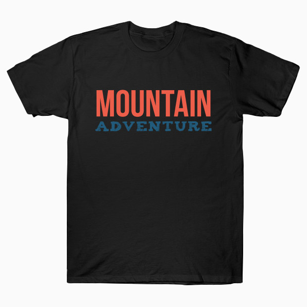 Orange mountain adventure text T-Shirt