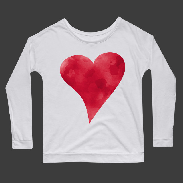Red watercolor heart Women's Long Sleeve T-Shirt